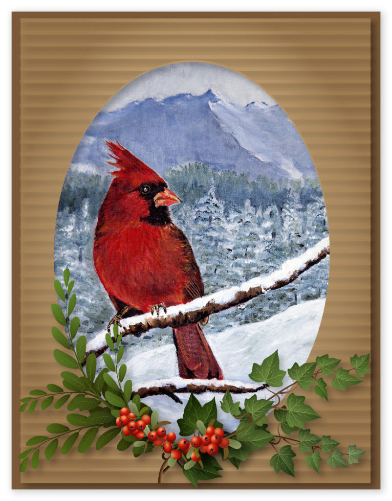 Cardinal painting by Lillian Latham.